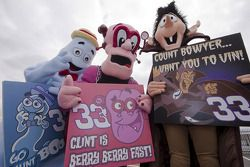 Cereal characters Boo-Berry, Franken Berry and Count Chocula support Clint Bowyer under overcast skies