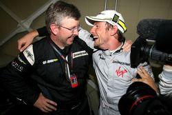 Ross Brawn Team Principal, Brawn GP y Jenson Button, Brawn GP