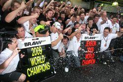 Rubens Barrichello, Brawn GP, Ross Brawn director de Brawn GP y Jenson Button, Brawn GP