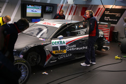 Dirty car of Timo Scheider, Audi Sport Team Abt Audi A4 DTM after an off track excursion