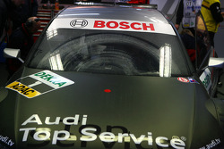 Dirty windscreen on the car of Timo Scheider, Audi Sport Team Abt Audi A4 DTM after an off track exc