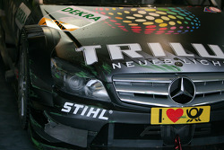Paint marks of the tyre barriers on the car of Ralf Schumacher, Team HWA AMG Mercedes C-Klasse after