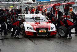 Pitstop practice for Tom Kristensen, Audi Sport Team Abt Audi A4 DTM