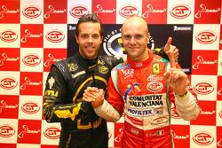 GT1 pole winner Anthony Kumpen and GT2 pole winner Gianmaria Bruni