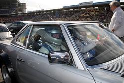 Boris Becker receiving a taxi ride from Norbert Haug, Sporting Director Mercedes-Benz