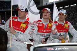Alexandre Prémat, Audi Sport Team Phoenix Audi A4 DTM; Katherine Legge, Audi Sport Team Abt Audi A4 DTM and Oliver Jarvis, Audi Sport Team Phoenix Audi A4 DTM