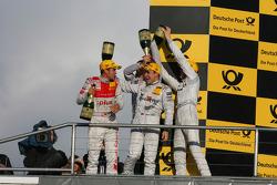 Championship podium: Timo Scheider, Audi Sport Team Abt Sportsline Audi A4 DTM, Gary Paffett, Team H