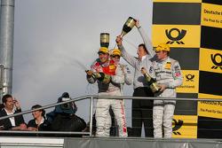 Championship podium: Timo Scheider, Audi Sport Team Abt Sportsline Audi A4 DTM, Paul di Resta, Team