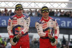 Podium: Les vainqueurs et champions: Sébastien Loeb et Daniel Elena