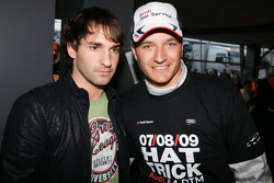 2009 DTM champion Timo Scheider, Audi Sport Team Abt celebrates with F1 driver Timo Glock