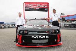 Penske Racing's Justin Allgaier, Driver of the No. 12 Verizon Dodge Challenger and Tim Cindric, President of Penske Racing introduce the 2010 NNS Dodge Challenger
