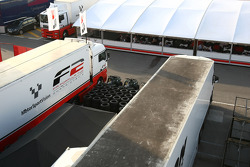 F2 and Avon tyres truck in the paddock