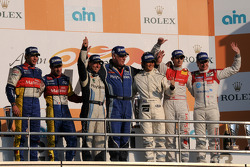 LMP1 podium: class and overall winners Christophe Tinseau and Shinji Nakano, second place Nicolas Lapierre and Loic Duval, third place Christian Bakkerud and Oliver Jarvis
