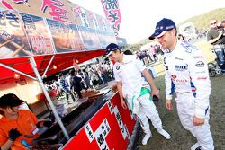 Augusto Farfus, BMW Team Germany and Andy Priaulx, BMW Team UK visiting an Japanease food court