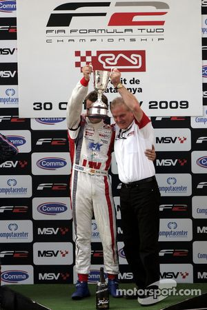Race winner Andy Soucek with Jonathan Palmer Motorsport Vision Chief Executive on the podium