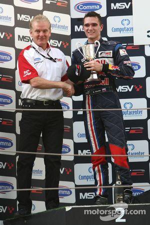 Mikhail Aleshin with Jonathan Palmer Motorsport Vision Chief Executive on the podium