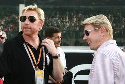 Boris Becker avec Mika Hakkinen