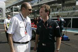 Bruno Michel, GP2 Series Organiser talks with Christian Horner, Arden International Team principal