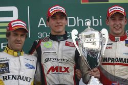 Christian Vietoris celebrates his victory on the podium with Davide Valsecchi and Josef Kral