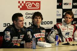 Mikhail Aleshin, Robert Wickens and Andy Soucek in the press conference