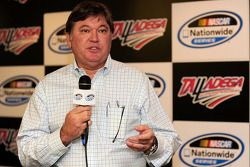 Robin Pemberton, NASCAR Vice President of Competition, meets with the media