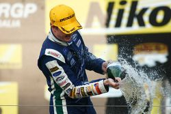 Podium: Mark Winterbottom celebrates his victory
