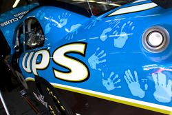 The No. 6 UPS/ Boys and Girls Clubs of America Ford sits in the garage