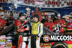 Victory lane: race winner Kyle Busch with Matt Crafton
