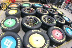Les pneus de Kyle Bush, très colorés