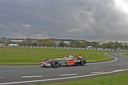 Lewis Hamilton demonstrates his Mclaren MP423