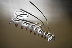 Glowing sign for the gullwing restaurant