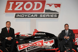 Jeff Belskus, president and CEO of the Indianapolis Motor Speedway Corp., left, and Michael Kelly, e