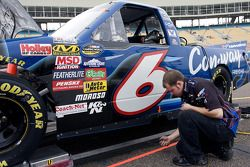 The No. 6 Con-Way Freight truck of Colin Braun gets worked on