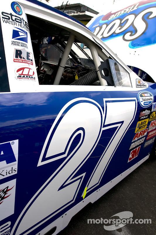 Jason Keller's No. 27 Scott Tissue/Huggies Ford sits in the garage