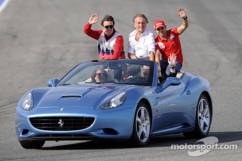 Fernando Alonso, Luca di Montezemolo ve Felipe Massa a Ferrari California