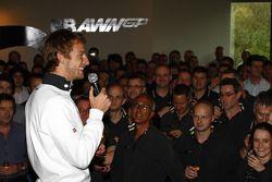Jenson Button celebrates 2009 world championship with Brawn GP staff