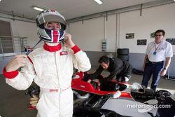 Bernard Romain prepares for his run in the GP3 Series car