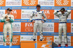 Podium: race winner Jean-Karl Vernay, Signature, second place Marcus Ericsson, Tom's, third place Ed
