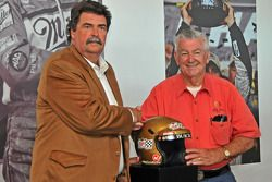 Bobby Allison introduced by NASCAR president Mike Helton in the Homestead-Miami Speedway inaugural edition of the Hall of Champions