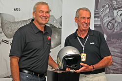 Ned Jarrett introduced by his son Dale Jarrett in the Homestead-Miami Speedway inaugural edition of the Hall of Champions