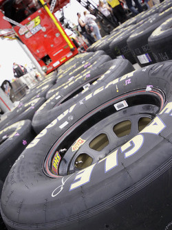 Tires for Mark Martin's Kellogg's Chevrolet sit in the pit area
