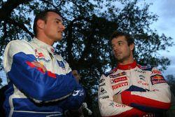Sébastien Loeb et Séverine Loeb, Citroen C4 WRC et Stéphane Sarrazin andet Jean Renucci, Peugeot 207 super 2000