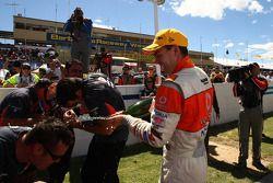 Craig Lowndes celebrates his victory