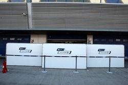 Boards up in front of the Williams garage