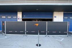 Barriers in front of the Mclaren garage