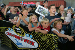Fans cheer on four-time NASCAR Sprint Cup Champion Jimmie Johnson, Hendrick Motorsports Chevrolet, at Camp Pendelton in Oceanside, California