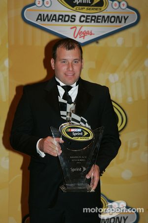 Ryan Newman with his award for ninth place in the Chase for the NASCAR Sprint Cup