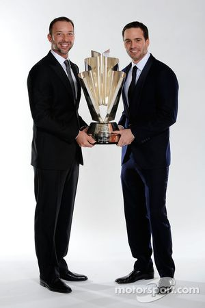 Four time NASCAR Sprint Cup Series Champion Jimmie Johnson and crew chief Chad Knaus pose with the S