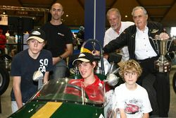 Three time Formula One World Championship Sir Jack Brabham with David Brabham and sons in celebratio