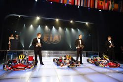 World Champion Arnaud Kozlinski and runners-up in the CIK-FIA Karting World Championship for Drivers